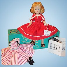 1957 Vintage Vogue Blonde Jill Doll; Box, 2 Dresses, Slip, Panties, Hose, Earrings, 2 Pairs Shoes, Tag & Brochure