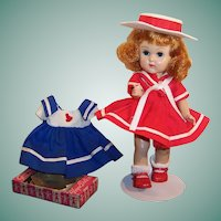 Vogue 1950's Ginny Doll; TWO Sailor / Nautical Dresses, Stand & more....