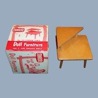 "1950's Strombecker Corner Table  & Box (Furniture for 8"" Dolls)"