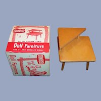 "1950's Strombecker Corner Table  & Box (Furniture for 8"" Dolls)"
