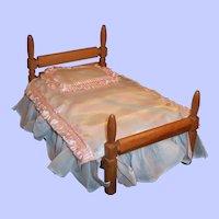"Vintage  Strombecker Wooden Poster Doll Bed (for 8"" Doll)"
