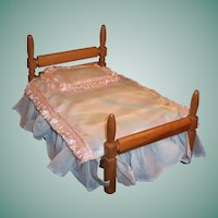 "Vintage  Strombecker Wooden Poster Doll Bed (for 8"" Doll)"