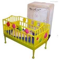 Vintage Suzy Cute Doll Crib with Clear Plastic Case