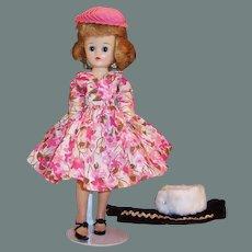 1950's Vogue Jill Bent Knee Walker Doll w/ Pink Dress, Hat, Hosiery, Fur Wrap, Velvet Jumpsuit and more...