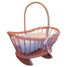 "Vintage  11"" Wicker Rocking Musical Cradle; Swiss Music Box"