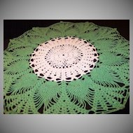 "Vintage Crocheted 16 1/2"" Round Green & Ivory Doily"