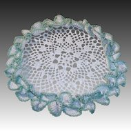 "Ruffled Creamy White & Green 10"" Crocheted Doilie"