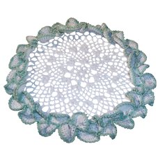 "Ruffled Creamy White & Green 10"" Crocheted Doilie"