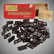 Vintage Halsam Double Nine Dragon Dominoes Set #920 (55 Pieces w/ Box and Instructions)