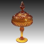 Amber Glass Diamond Point Covered Compote