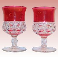 "TWO King's Crown Double Ruby Flashed Water Goblets 5 5/8"" Tall"