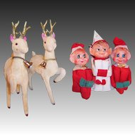 Three Knee Hugger Elves & Two Flocked Reindeer All Japan
