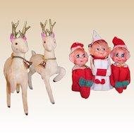 Three Knee Hugger Elves & Two Flocked Reindeer All Japan