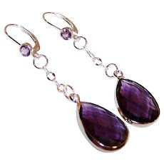 Faceted Amethyst & Sterling Silver Lever Back Dangle Earrings