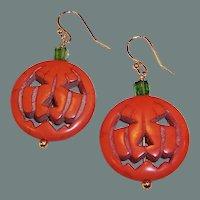 Jack-O-Lantern Pumpkin OOAK 14K Gold Plated Earring Wires