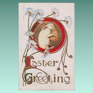 Vintage Easter Greeting Postcard White Rabbit Holding Egg