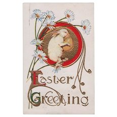 Vintage Easter Greeting Postcard White Rabbit Holding Egg