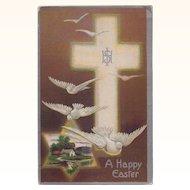 Antique Winsch Type Back Happy Easter Postcard: Cross, Christogram & Doves