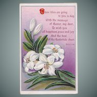 Antique Easter Lily Postcard with Mary C. Low Poem