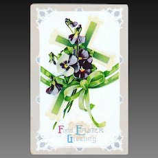 Antique Easter Postcard Cross and Pansies