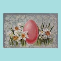 "Vintage ""Easter Joys"" Daffodils and Easter Egg Postcard -- Valentine & Sons Publishing"