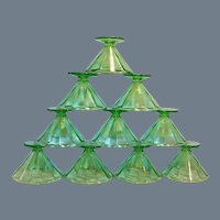 SET of  TEN: Depression Green Federal Glass Optic Paneled Cone Sherbets / Ice Cream/ Dessert / Fruit Cups