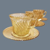 (SET of 3) Depression Glass Federal Diana Amber Cups & Saucers