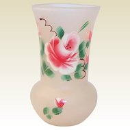 Federal Glass Gay Fad Rose Frosted Vase