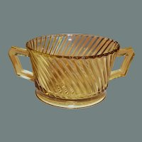 Amber Federal Glass Diana Pattern Double Handled Open Sugar