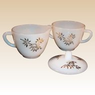 Golden Glory 22K Gold Bamboo Pattern Creamer & Covered Sugar