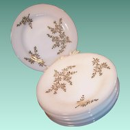 """SET of 8: Golden Glory 22K Gold Bamboo Pattern 7 3/4"""" Salad / Luncheon Plates"""