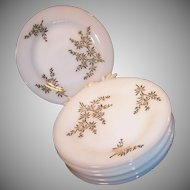 "SET of 8: Golden Glory 22K Gold Bamboo Pattern 7 3/4"" Salad / Luncheon Plates"