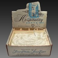 Vintage Federal Glass Hospitality Snack Sets in Original Box