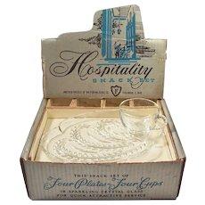 Sale!  Vintage Federal Glass Hospitality Snack Sets in Original Box