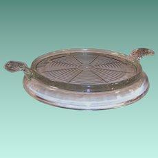 Clear Vintage Fire King Glass Handled Trivet Hot Plate