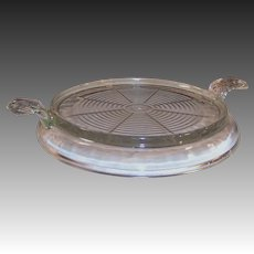 Clear Vintage Fire King Glass Handled Trivet Hot Plate