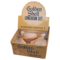 Vintage Fire King Suberbia Golden Shell Dishes & Display Box