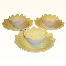 Anchor Hocking Fired On Vitrock Leaf & Blossom Yellow Sets
