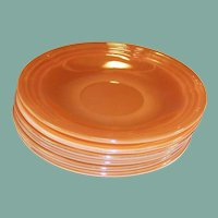SET OF SIX: Fire King Three Ring Luster Saucers