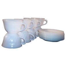 SET of FOUR: Fire King White Swirl Coffee Cups & Saucers