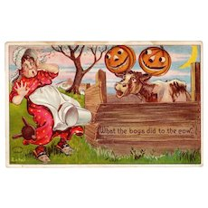 Antique Julius Bien Halloween Postcard  980 Series; No. 9804