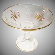 SALE:  Clear Hand Painted & Gilded Glass Compote