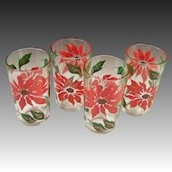 Set of 4: Poinsettia Holiday Tumblers