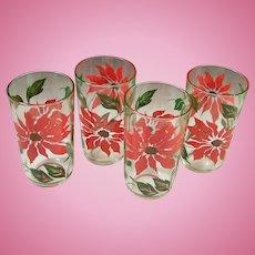 Set of 4: Poinsettia Holiday Tumblers