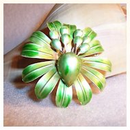"MOD Large 2 1/4"" Green Flower Blossom Pin"
