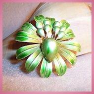 "MOD Large 2 1/4"" Green Flower Blossom Pin"