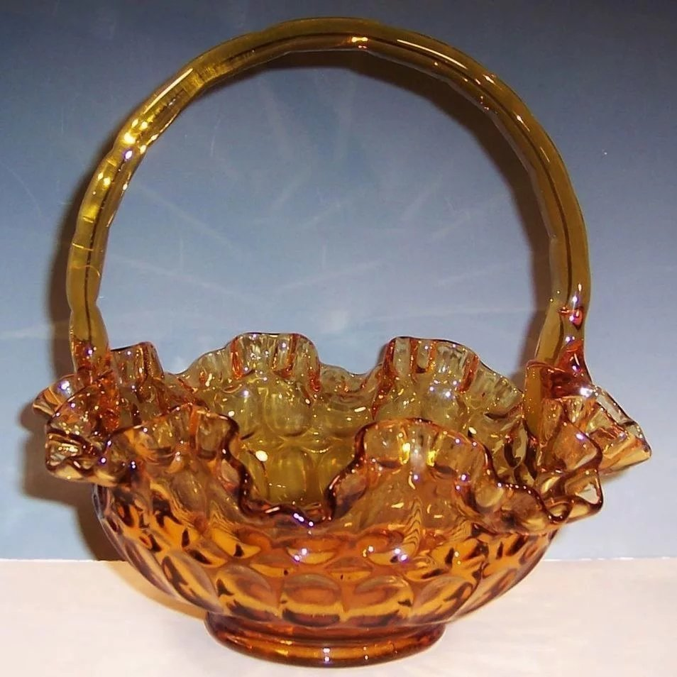 Mid Century Fenton Colonial Amber Thumbprint Ruffled Glass Basket Sold Ruby Lane