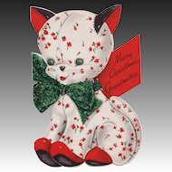 1949 Hallmark Coutts Quilted Kitten Cat Christmas Card