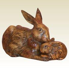 Vintage 1975 West Germany Goebel Mother & Child Woodland Brown Rabbits