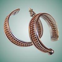 Vintage  Sterling & 12 K Gold Filled Pierced Hoop Earrings